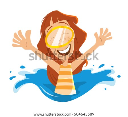Happy smile woman in swimming pool
