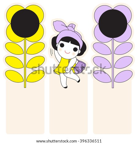 Happy Smiley Girl With Flowers Post-it Bookmarks Character Design Set illustration - stock vector