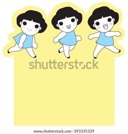 Happy Smiley Girls Character Paper Note Design illustration set - stock vector