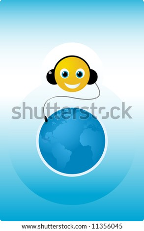 Happy smiling audio listener illustration - stock vector