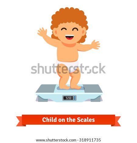Happy smiling baby toddler in diaper standing and weighting on a scales. Flat style vector cartoon illustration isolated on white background. - stock vector