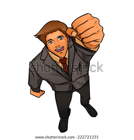 Happy smiling business man expressing success and winning, confidence and advance. He holds hand making fist above head. Vector cartoon drawing. - stock vector