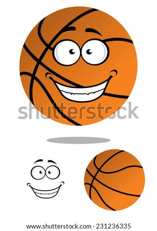 Happy smiling cartoon basketball ball character hovering over a shadow plus a plain variation with separate smile element, vector illustration isolated on white - stock vector