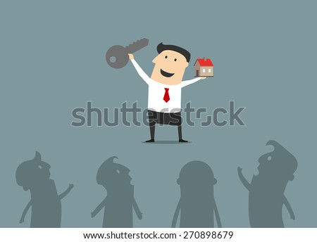 Happy smiling cartoon businessman showing a key and his new house suited for real estate and mortgage concept design - stock vector