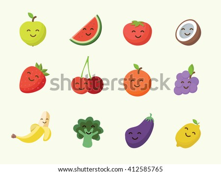 Happy smiling cartoon fruits icon - stock vector