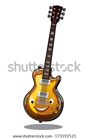 Happy smiling electric guitar in cartoon style for music and mascot design - stock vector