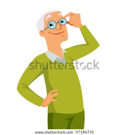 Happy smiling grandfather holding his glasses