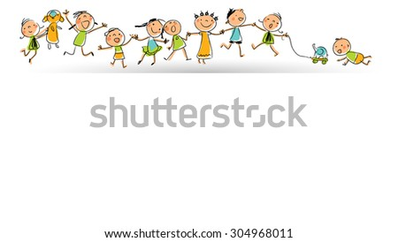 Happy smiling kids group in a row; children playing with toys. Hand drawn stick figures style, line art vector illustration. - stock vector