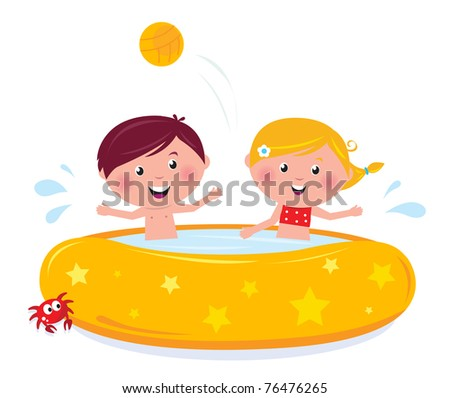 Happy smiling kids in swimming pool, summer illustration cartoon vector. - stock vector
