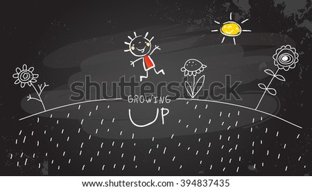 Happy smiling Kids sharing presents, being happy. Chalk on blackboard hand drawn doodle style, sketchy illustration.  - stock vector