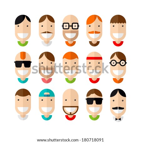 Happy smiling male faces set, flat design, vector illustration - stock vector