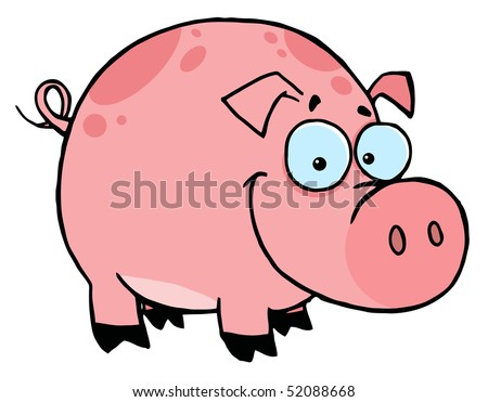 Happy Smiling Pink Pig With Spots - stock vector