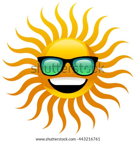 Happy smiling sun with sunglasses - stock vector