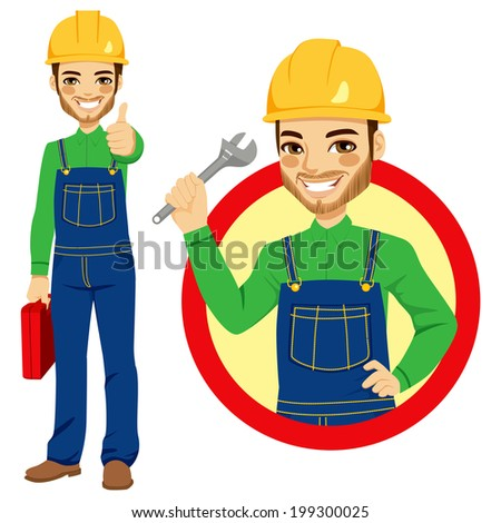 Happy smiling worker holding adjustable wrench wearing blue overall uniform holding tool box and making positive thumbs up hand sign expression - stock vector