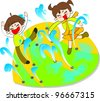 Happy Smiling Young Girl and Boy in water fountains on white background - stock vector