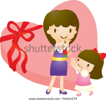 Happy Smiling Young Woman and lovely little girl with red carnation corsage on white background - stock vector