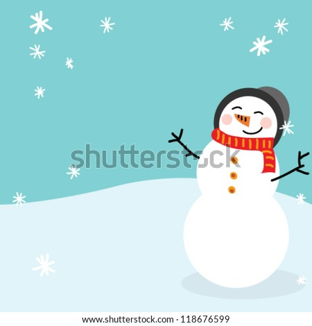 Happy snowman - stock vector