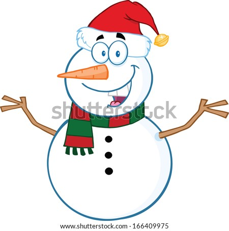 Happy Snowman Cartoon Mascot Character With Open Arms. Vector Illustration Isolated on white - stock vector