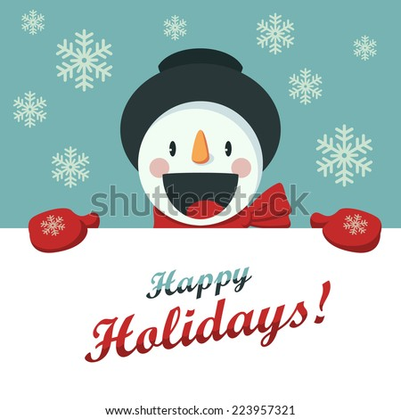 Happy Snowman greets you. Christmas background with snowflakes. Card for the New Year or Christmas - stock vector