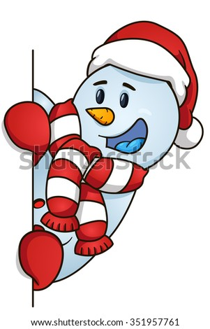 Happy snowman hiding behind the blank. Vector illustration. Christmas Theme.