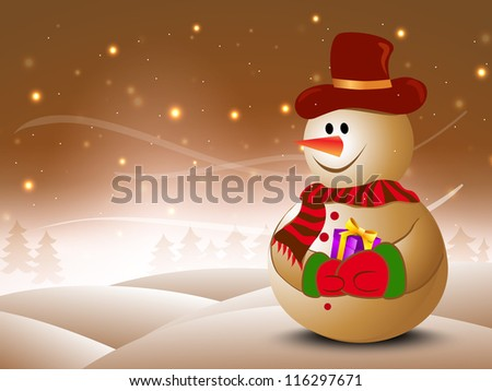 Happy snowman wearing hat and scarf with gift boxes on winter night for Merry Christmas greeting card, gift card or invitation card. EPS 10.