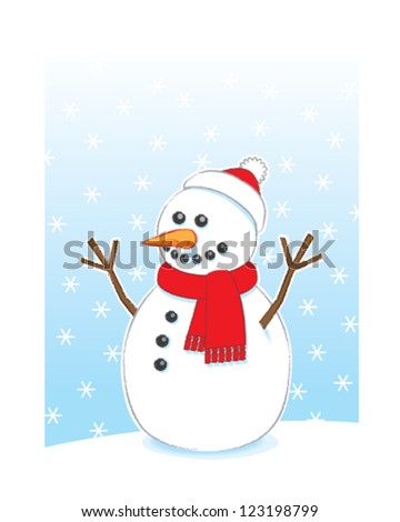 Happy Snowman with Carrot Nose and Stick Arms wearing Red Scarf and Santa Hat on Snowing Background - stock vector