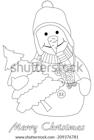 Happy snowman with christmas tree - coloring page - stock vector