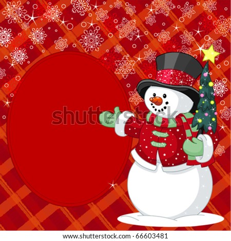 Happy snowman with Christmas tree place card - stock vector