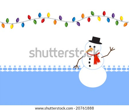 Happy snowman with holiday light bulbs - stock vector