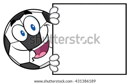 Happy Soccer Ball Cartoon Mascot Character Looking Around A Blank Sign. Vector Illustration Isolated On White Background - stock vector