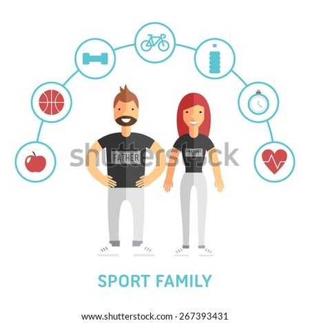Happy Sport and Healthy Family. Father and mother. Flat Design Vector Illustration with Icons - stock vector