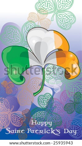 Happy St. Patrick card with shamrock. Vector illustration - stock vector