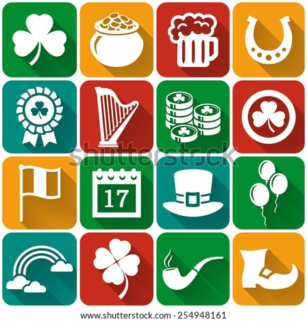 Happy St. Patrick's Day! Collection of holiday icons in flat style with long shadows. Set of 16 white silhouette symbols on a colorful plates. Vector illustration.  - stock vector