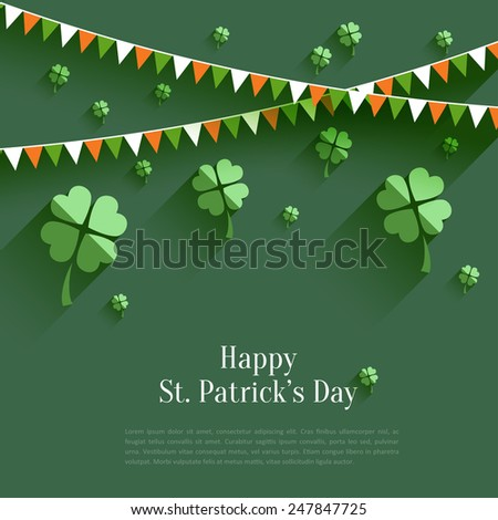 Happy St. Patrick`s Day - greeting card in flat style, modern design element - stock vector