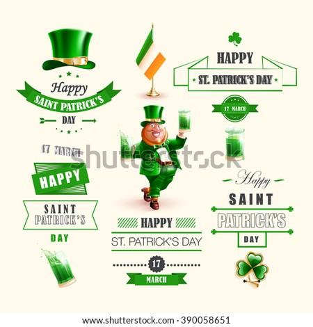 Happy St. Patrick's Day. Isolated set vector cartoon character Irishman green hat with shamrocks, beard red color, flag of Ireland, smile, lettering green ribbon realistic style  beige background - stock vector