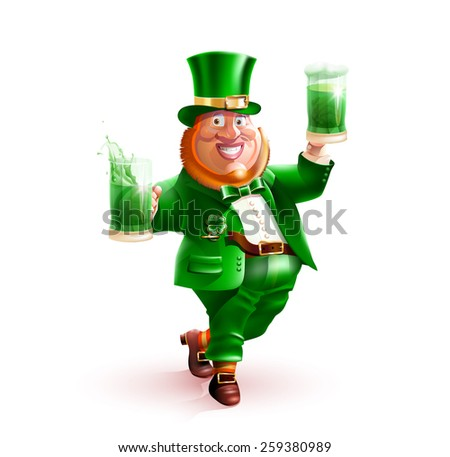 Happy St. Patrick's Day! Isolated vector cartoon character Irish leprechaun in a green suit and hat with shamrock on his chest, a red beard, smile, with green beer and ale in hand on white background - stock vector