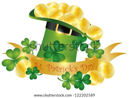 Happy St Patricks Day Banner with Leprechaun Hat Gold Coins and Shamrock Leaves Illustration Vector - stock vector