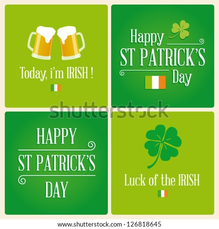 Happy St Patricks day card with beer, lucky clover, irish flag, ornaments, and typography  font type - stock vector