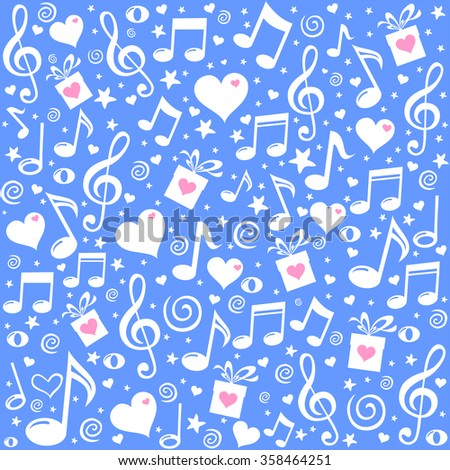 Happy St. Valentine's Day! Blue Seamless pattern wallpaper. Abstract background with musical notes, gift box, heart. Vector Illustration - stock vector