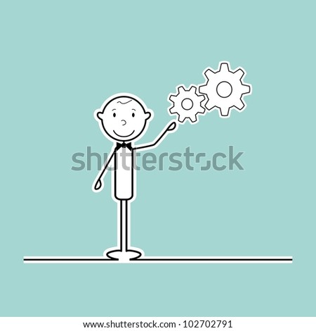 happy stick man with cogs - stock vector