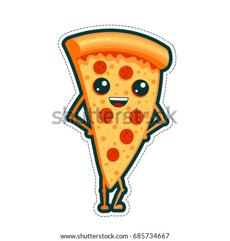 Happy sticker flat line pizza slice cute vector fast food