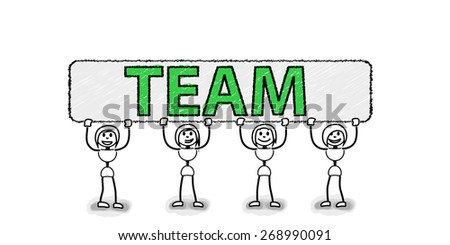 Happy stickman team with green letters board. Concept image for several business ideas