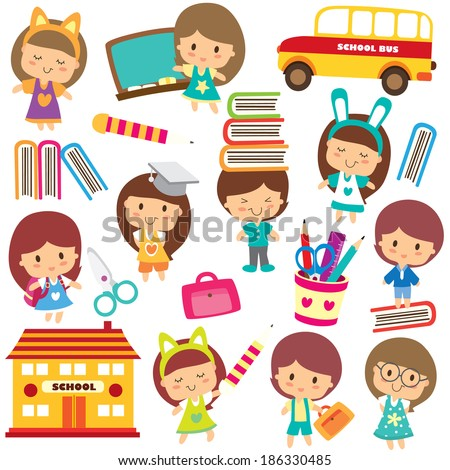 happy students clip art - stock vector