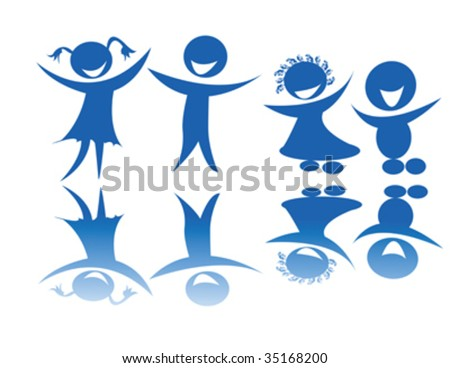 Happy stylized silhouettes of kids on a blue-light background - stock vector