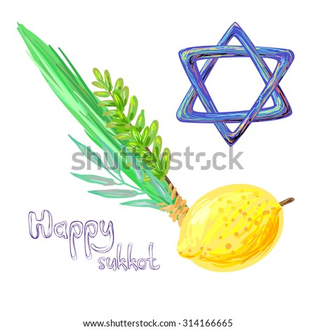 Happy Sukkot four symbols of Jewish holiday. Sukkot species - etrog, willow, palm, myrtle vector illustration - stock vector
