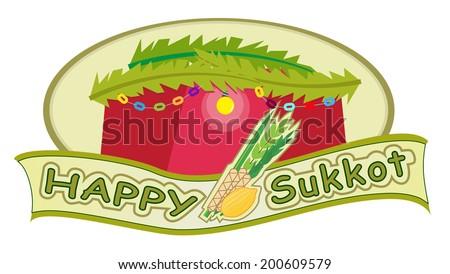 Happy Sukkot - Sukkot banner with sukkah in the background. Eps10 - stock vector