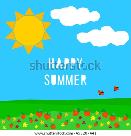 Happy Summer Abstract Childish Card Template Rest Vacation Warm And Shiny Time