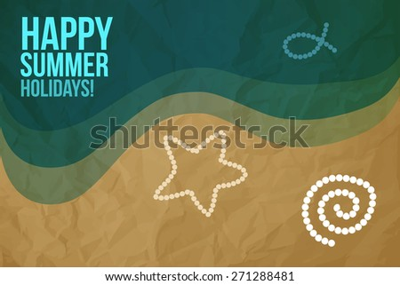 Happy Summer Holidays Postcard - stock vector
