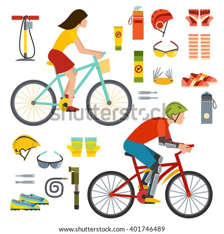 Happy summer people on bicycles, activity fun people on bicycles. Urban female biking sport and bike element. People on bicycles riders man and woman lifestyle cycling sport flat vector illustration. - stock vector