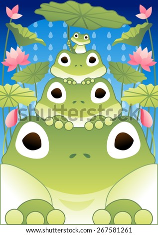 Happy Summer Story - cute funny frogs look and enjoy fun in the pond on refreshing rainy day on bright blue background with beautiful lotus flowers and green leaves : vector illustration - stock vector